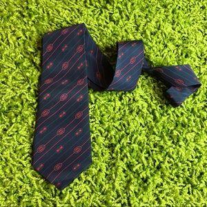 Auth GUCCI 1980's 100% Silk GG Logo Neck Tie